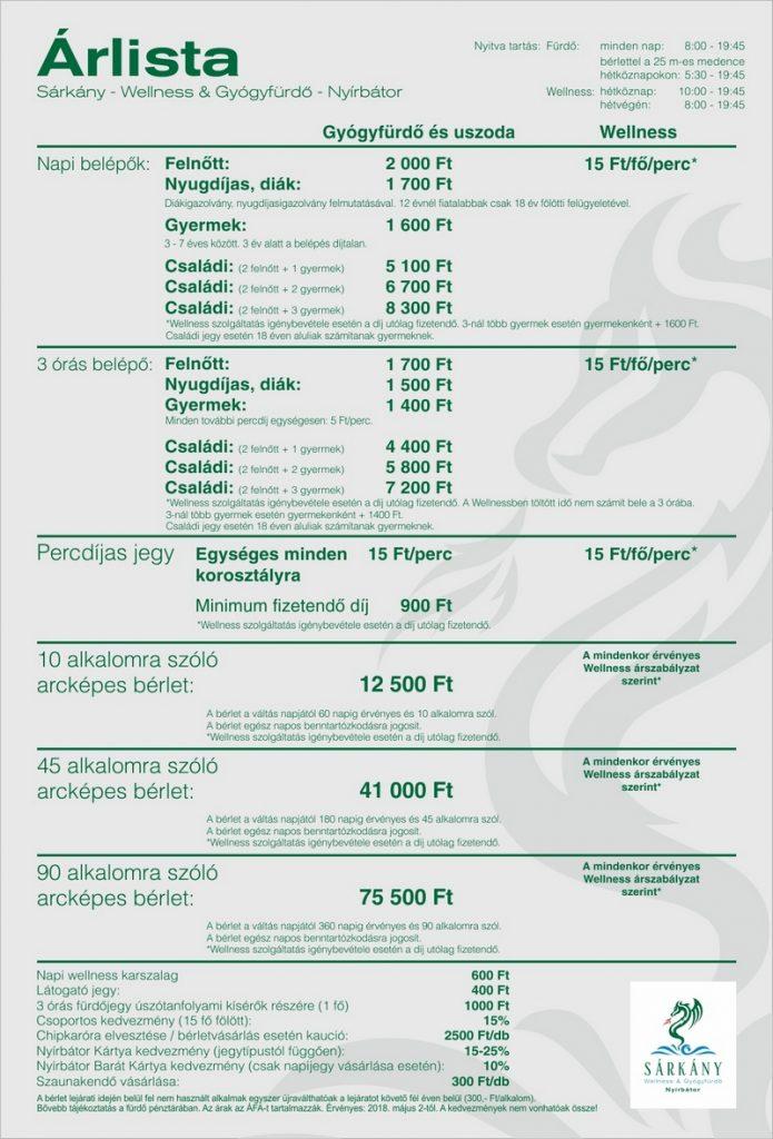 Nyírbátori Sárkány Wellness és Gyógyfürdő és wellness árak
