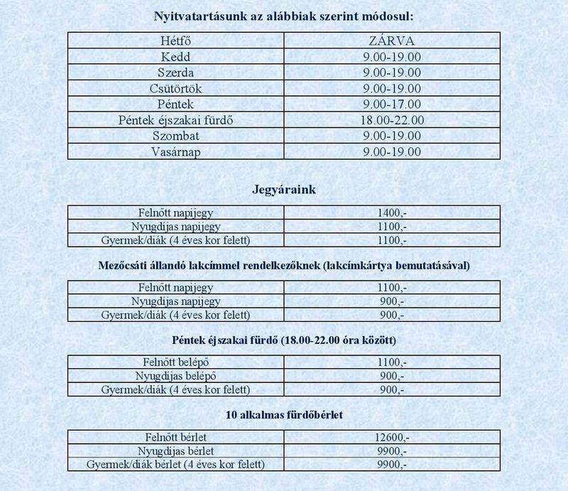 mezőcsáti termálfürdő nyitvatartás árak